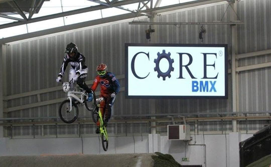 Core-BMX-hole-shot-big-screen-sponsorship-Winter-Series-2014-Manc-Indoor